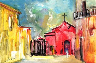 South Of France Painting -  The Red Church In The South Of France by Miki De Goodaboom