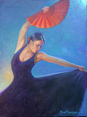 Painting -  The Red Fan by Gwen Carroll