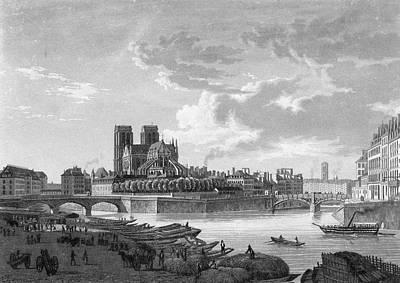 Notre Dame Drawing -  The Seine, Ile De La Cite,  Notre by Mary Evans Picture Library