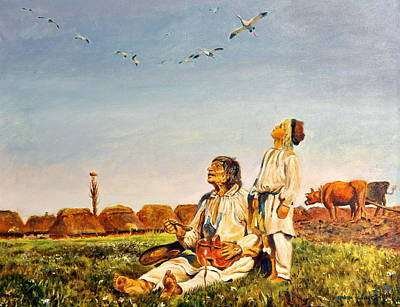 Art Print featuring the painting End Of The Summer- The Storks by Henryk Gorecki