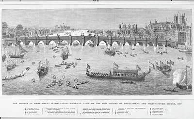 Westminster Abbey Drawing -  The Thames, Showing  Westminster by Mary Evans Picture Library
