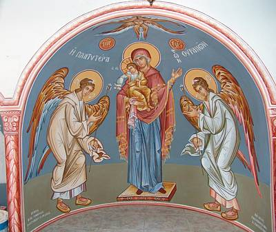 Byzantin Painting -  The Virgin With The Angels by Charalampos Gkolfinopulos