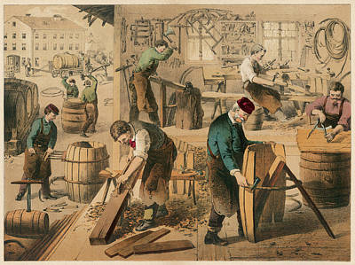 The Workshop Of A Cooper Or  Barrel Art Print by Mary Evans Picture Library