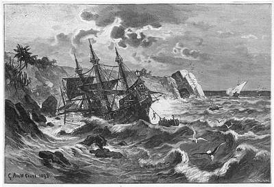 The Wreck Of The Caravel  'santa Art Print by Mary Evans Picture Library