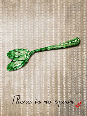 Matrix Code Digital Art -  There Is No Spoon By Neo by Filippo B