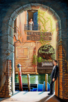 Painting -  Thinking Of You Trattoria Sempione San Marco 578 Venezia by Carolyn Coffey Wallace