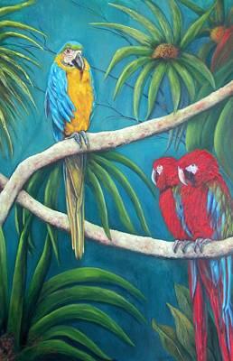 Three Is A Crowd,macaws Art Print