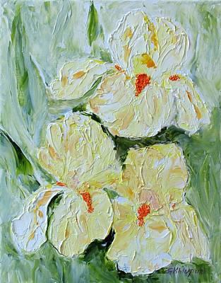 Three Yellow Irises Art Print