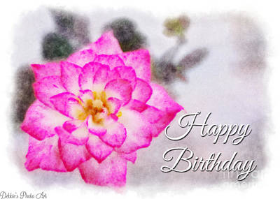 Photograph -  Thumbelina Rose - Digital Paint - Happy Birtheay by Debbie Portwood