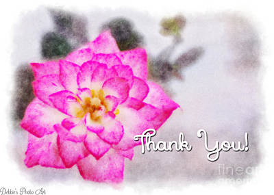 Photograph -  Thumbelina Rose - Digital Paint - Thank You by Debbie Portwood