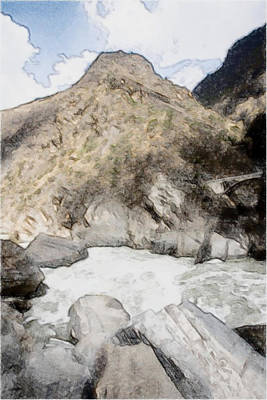 Deep River County Park Painting -  Tiger Leaping Gorge In Lijiang by Lanjee Chee