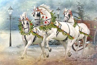 Grey Horse Digital Art -  Tis' The Season by Trudi Simmonds