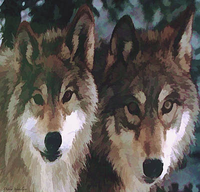 Painting -  Together Forever Wolves by Debra     Vatalaro