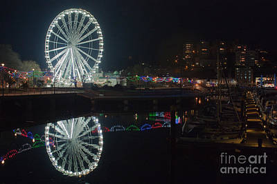 Photograph - Torquay Marina And Ferris Wheel At Night by Terri Waters