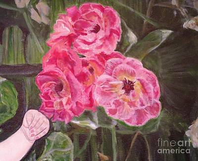 Golden Vines Painting -  Touch Of The Roses Painting by Kimberlee Baxter