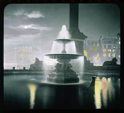 Trafalgar Square At Night  Showing Art Print by Mary Evans Picture Library
