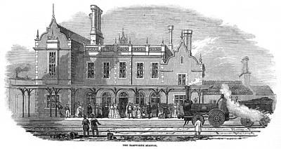 Tamworth Wall Art - Drawing -  Trent Valley Railway         Date 1847 by  Illustrated London News Ltd/Mar