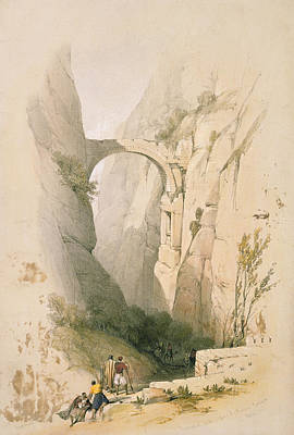 Hills Drawing -  Triumphal Arch Crossing The Ravine Leading To Petra by David Roberts