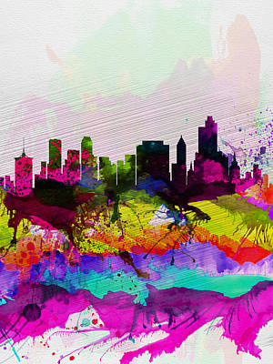 Oklahoma Painting -  Tulsa Watercolor Skyline by Naxart Studio