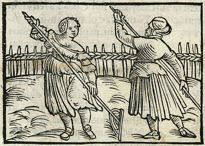 Fence Drawing -  Two 16th Century German Hay  Makers by Mary Evans Picture Library