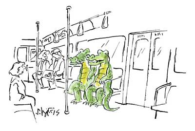 Reptiles Drawing -  Two Alligators Ride The Subway by Sidney Harris