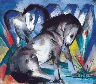 Franz Marc Painting -  Two Horses by Franz Marc
