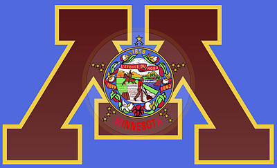University Of Minnesota Digital Art -  U Of M Minnesota State Flag by Daniel Hagerman