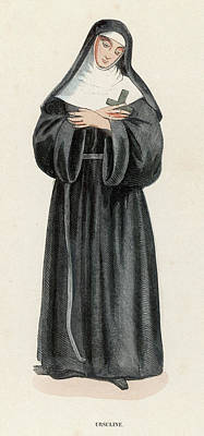 Ursuline Nun Devoted To Saint Ursula Art Print by Mary Evans Picture Library