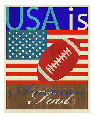 Football Drawing -  Usa Is American Football by Joost Hogervorst