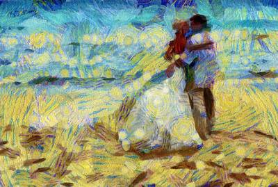 Digital Art -  Van Gogh Style Beach Wedding by Carrie OBrien Sibley