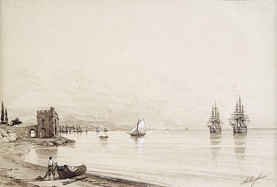 View Of A Bay With Numerous Sailing-ships. Feodosia Art Print by Ivan Konstantinovich Aivazovsky