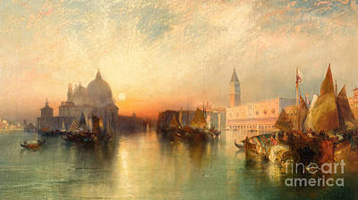 Sunset Painting -  View Of Venice by Thomas Moran