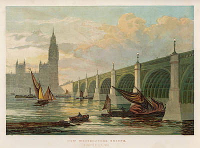 Big Ben Drawing -  Viewed From The River,  With Big Ben by  Illustrated London News Ltd/Mar