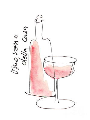 Vinos Drawing -  Vino Rosso Della Casa by Karin Stein