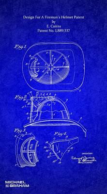 Photograph - 1932 Firemans Helmet Patent by Doc Braham