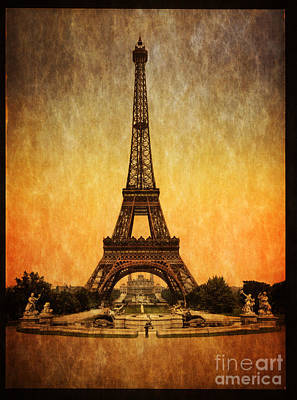Paris Digital Art -  Vintage Eiffel Tower Paris  by Heinz G Mielke