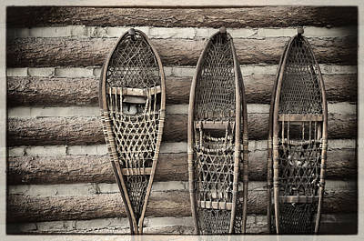 Cabin Wall Photograph -  Vintage Snow Shoes by Carter Jones