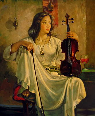 Painting -  Violinist by Yoo Choong Yeul