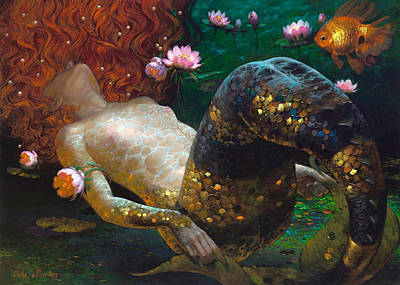 Mermaid Painting -  Vn Mermaid With Gold Fish by Lila Prokopenko