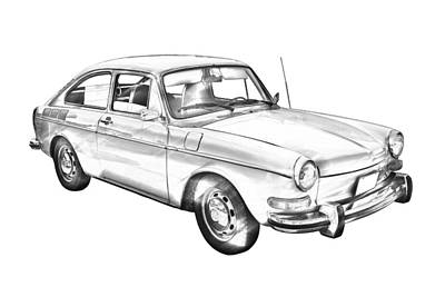 Photograph -  Volkswagen Karmann Ghia Car Illustration  by Keith Webber Jr