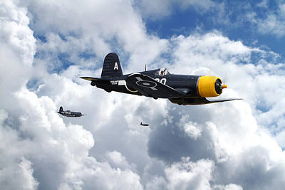 Skyscape Digital Art -  Vought Corsair - Strike Mission by Pat Speirs