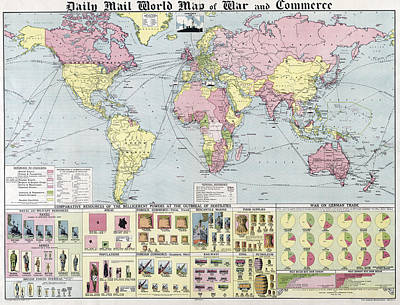 W W 1 World Map Of War And Commerce 1917 Art Print