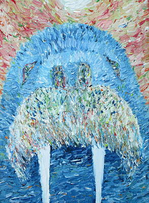 Tusks Painting -  Walrus - Oil Portrait by Fabrizio Cassetta