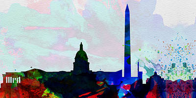 Horizon Painting -  Washington Dc City Skyline 2 by Naxart Studio