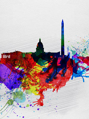 Downtown Wall Art - Painting -  Washington Dc Watercolor Skyline 1 by Naxart Studio