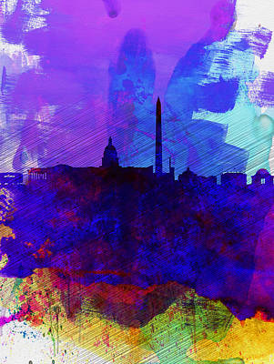Washington Dc Digital Art -  Washington Dc Watercolor Skyline 2 by Naxart Studio