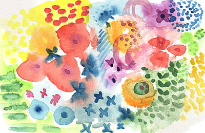 Botanicals Mixed Media -  Watercolor Garden by Linda Woods