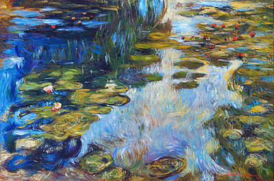 Impressionism Paintings -  Waterlily Reflections by David Lloyd Glover