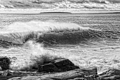 Photograph -  Waves Crashing On Rocks Acadia National Park Photo Print  by Keith Webber Jr