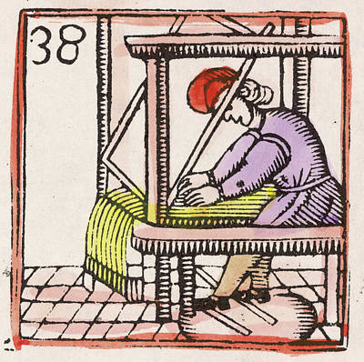 Weaving On A Loom         Date 17th Art Print by Mary Evans Picture Library